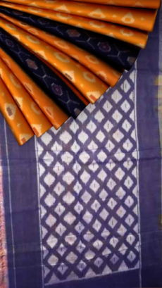 Orange body with blue/Violet designer pallu Soft Cotton saree-yespoho