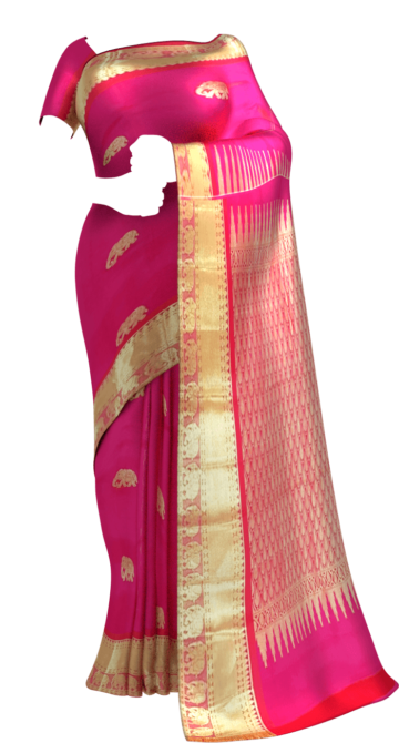 Shop Baby pink equal border with flower elephant bridal collection pure Kanchipuram silk saree Online