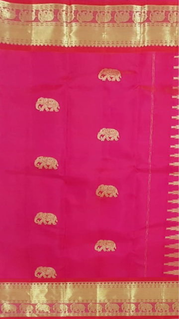 Yespoho Baby pink equal border with flower elephant bridal collection pure Kanchipuram silk saree