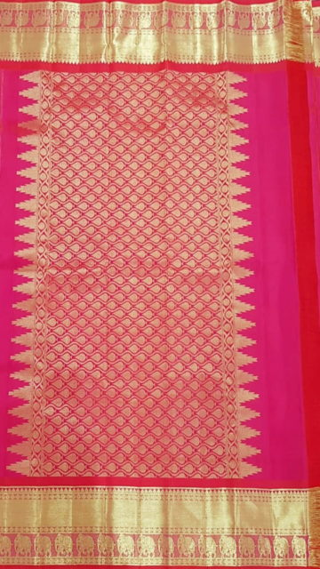 Baby Pink Baby pink equal border with flower elephant bridal collection pure Kanchipuram silk saree