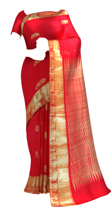 Shop Tomato Red equal border with flower elephant bridal collection pure Kanchipuram silk saree Online