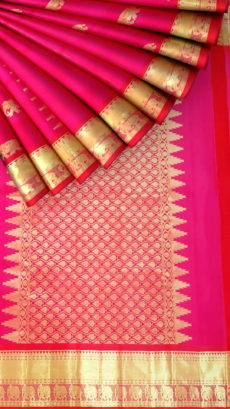 Baby pink equal border with flower elephant bridal collection pure Kanchipuram silk saree-yespoho