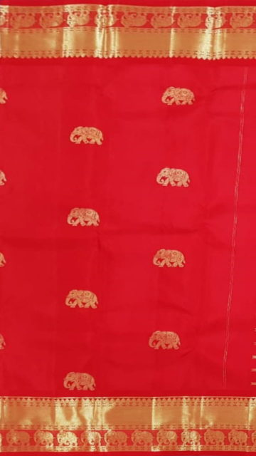 Yespoho Tomato Red equal border with flower elephant bridal collection pure Kanchipuram silk saree