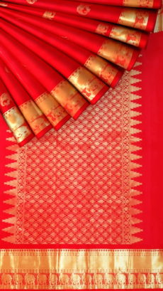 Tomato Red equal border with flower elephant bridal collection pure Kanchipuram silk saree-yespoho