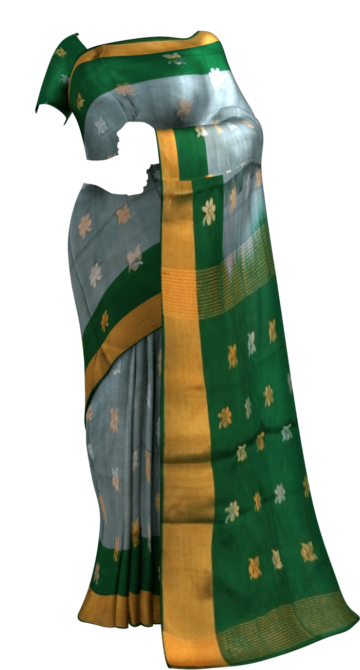 Grey with green pallu full body butta Uppada soft silk saree Yespoho Sarees New Arrivals Uppada Jamdani With Butta Saree