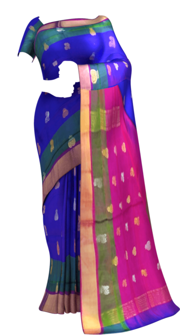 Shop Royal blue with magenta full body butta Uppada soft silk saree Online