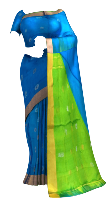 Shop Anada blue with green pallu full body butta Uppada soft silk saree Online