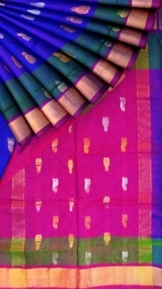 Royal blue with magenta full body butta Uppada soft silk saree-yespoho