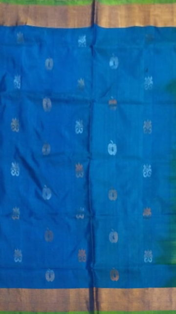 Yespoho Anada blue with green pallu full body butta Uppada soft silk saree