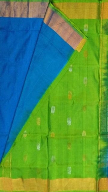 Ananda Sky Blue Anada blue with green pallu full body butta Uppada soft silk saree