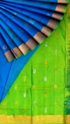 Anada blue with green pallu full body butta Uppada soft silk saree-yespoho