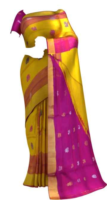 Golden Yellow Uppada Soft silk saree with magenta pallu with Unstitched Blouse
