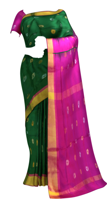 Green with Magenta full body butta Uppada soft silk saree Yespoho Sarees New Arrivals Uppada Jamdani With Butta Saree