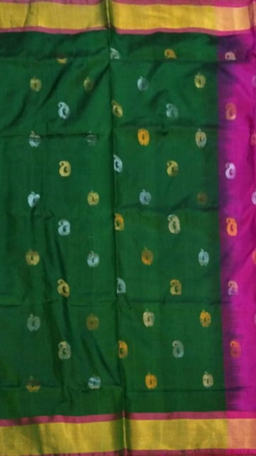 Yespoho Green with Magenta full body butta Uppada soft silk saree