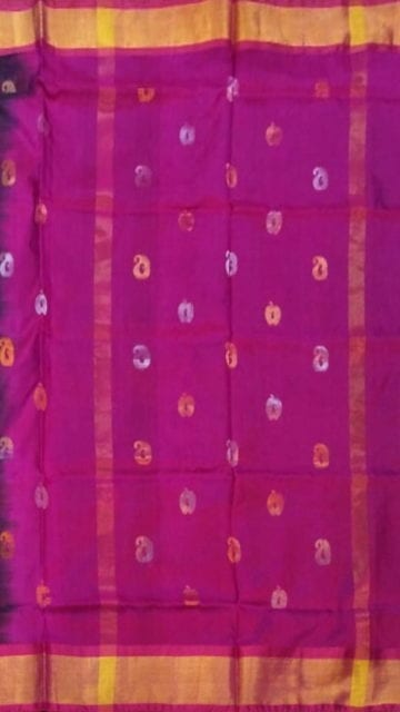 Green Green with Magenta full body butta Uppada soft silk saree