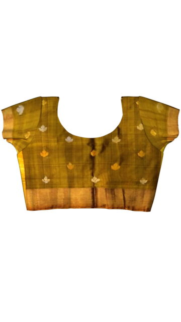 Green with Mustard full body butta Uppada soft silk saree with Unstitched Blouse