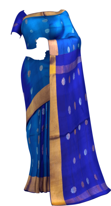 Royal blue Saree with full body Uppada Soft silk saree Yespoho Sarees New Arrivals Uppada Jamdani With Butta Saree