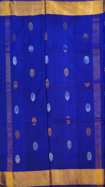 Shop Royal blue Saree with full body Uppada Soft silk saree Online