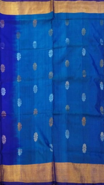 Yespoho Royal blue Saree with full body Uppada Soft silk saree