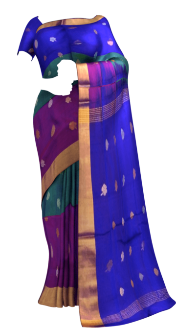 Multicolor with royal blue pallu full body butta Uppada Soft silk saree Yespoho Sarees Uppada Jamdani With Butta Saree
