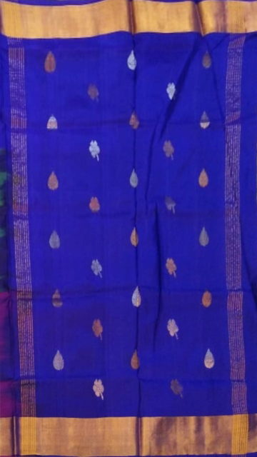 Shop Multicolor with royal blue pallu full body butta Uppada Soft silk saree Online