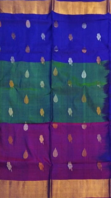 Yespoho Multicolor with royal blue pallu full body butta Uppada Soft silk saree