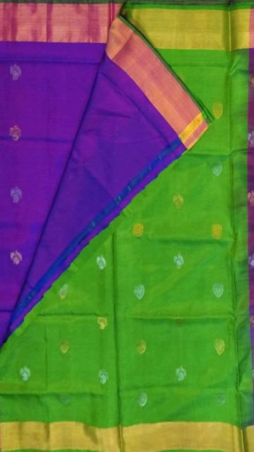 Shop Violet with Green pallu full body butta Uppada Soft silk saree Online