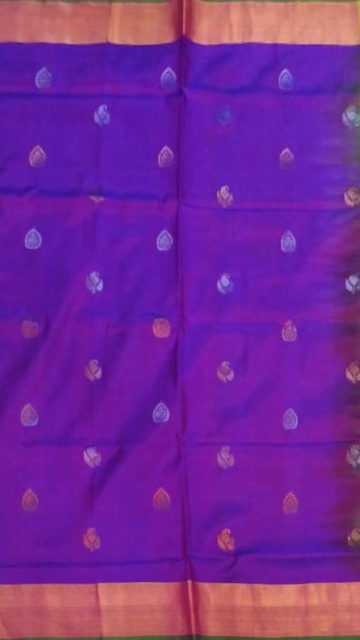 Yespoho Violet with Green pallu full body butta Uppada Soft silk saree