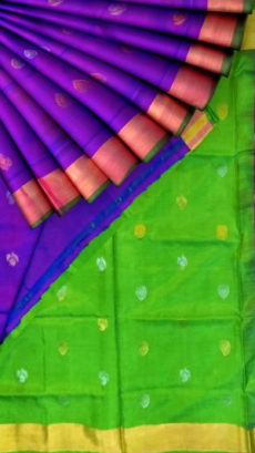 Violet with Green pallu full body butta Uppada Soft silk saree-yespoho
