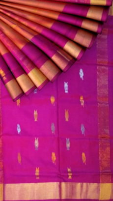 Orange with Magenta pallu full body butta Uppada Soft silk saree-yespoho