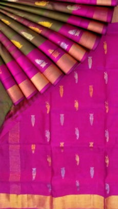 Green with Magenta  pallu full body butta Uppada Soft silk saree-yespoho