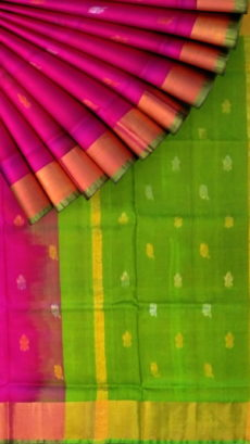 Magenta with peacock Green pallu full body butta Uppada Soft silk saree-yespoho