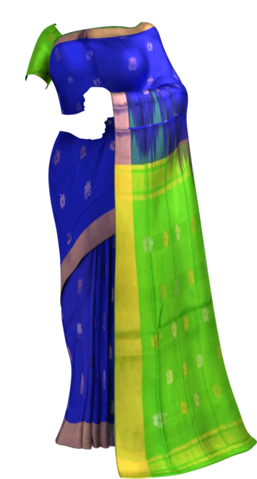 Royal blue  with Green pallu full body butta Uppada Soft silk saree Yespoho Sarees New Arrivals Uppada Jamdani With Butta Saree