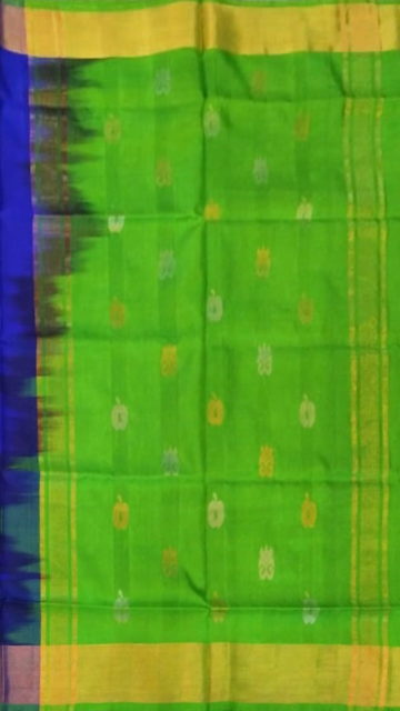 Green Royal blue  with Green pallu full body butta Uppada Soft silk saree