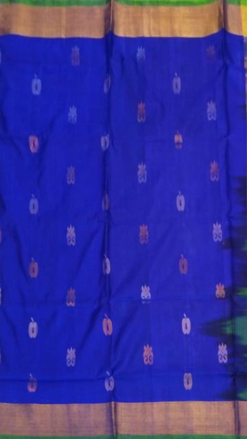 Yespoho Royal blue  with Green pallu full body butta Uppada Soft silk saree