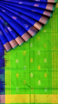 Royal blue  with Green pallu full body butta Uppada Soft silk saree-yespoho