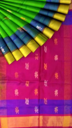 Green with magenta pallu and blue border full biody butta Uppada Soft silk saree-yespoho
