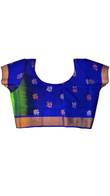 Green with royal blue pallu full body butta Uppada Soft silk sare with Unstitched Blouse