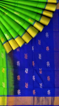Green with royal blue pallu full body butta Uppada Soft silk sare-yespoho