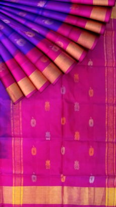 Bluish Violet with Magenta pallu full body butta Uppada Soft silk saree-yespoho
