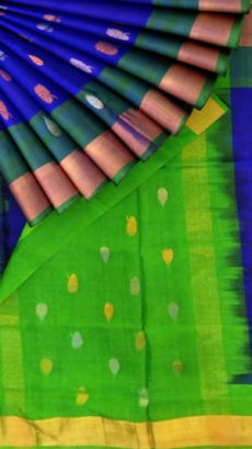 Blue and Green Uppada Soft silk with full body butta-yespoho