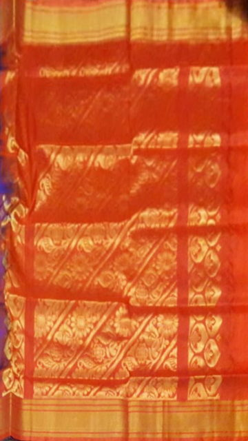 Shop Blue and Red Uppada Soft Silk Saree with body butta Online