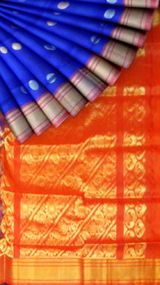 Blue and Red Uppada Soft Silk Saree with body butta-yespoho