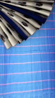 White ikkat design soft cotton saree with blue pallu-yespoho