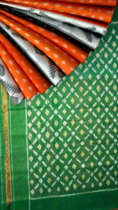 Orange Ikkat design Soft Cotton saree with Green Designer pallu-yespoho