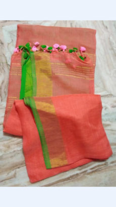 Peach Linen Saree with Golden Striped Pallu-yespoho