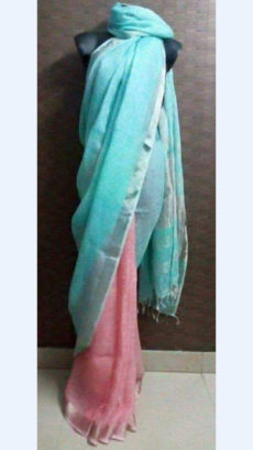 Aqua blue and Pink Linen Saree with Silver border-yespoho