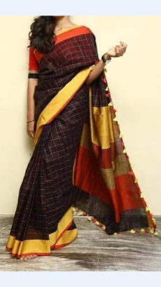 Check patterned Black Linen Saree with Golden and Orange Stripes Pallu-yespoho