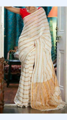 Off white Linen Saree with Striped Pallu-yespoho