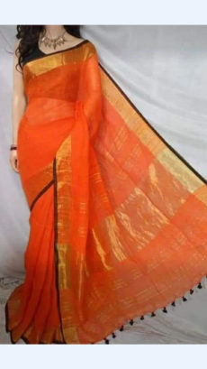 Plain patterned orange Linen Saree with Striped Pallu-yespoho
